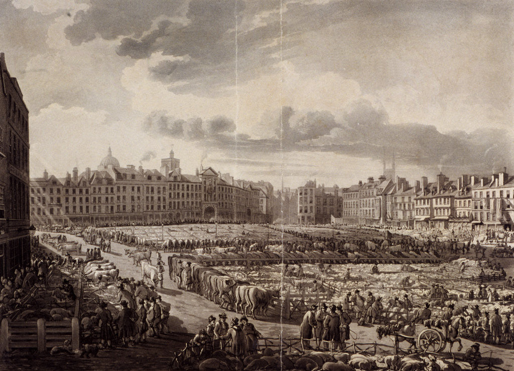 Detail of Smithfield Market, London, 1811 by J Bluck