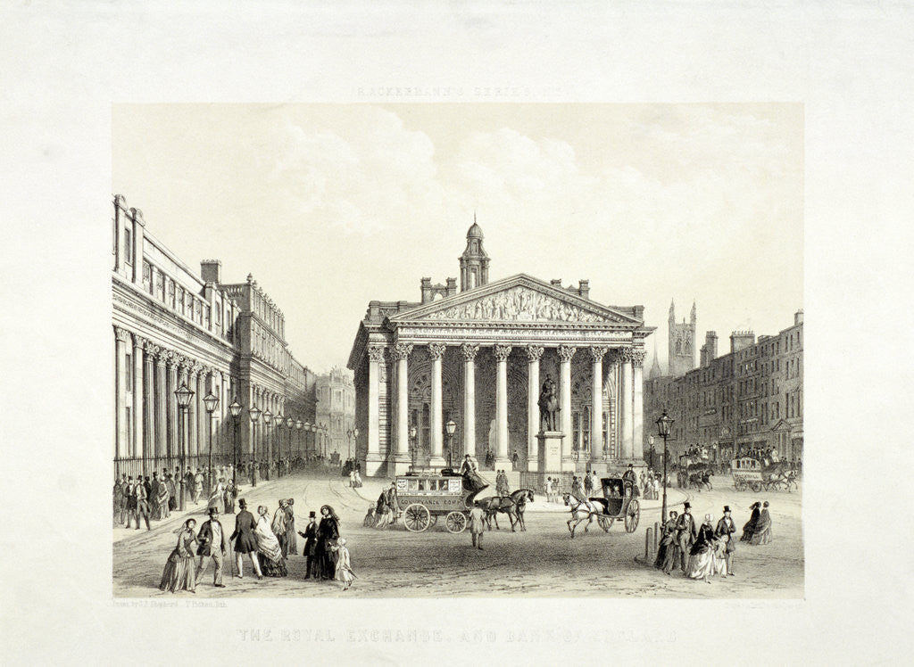 Detail of Royal Exchange and the Bank of England on the left, London by Thomas Picken