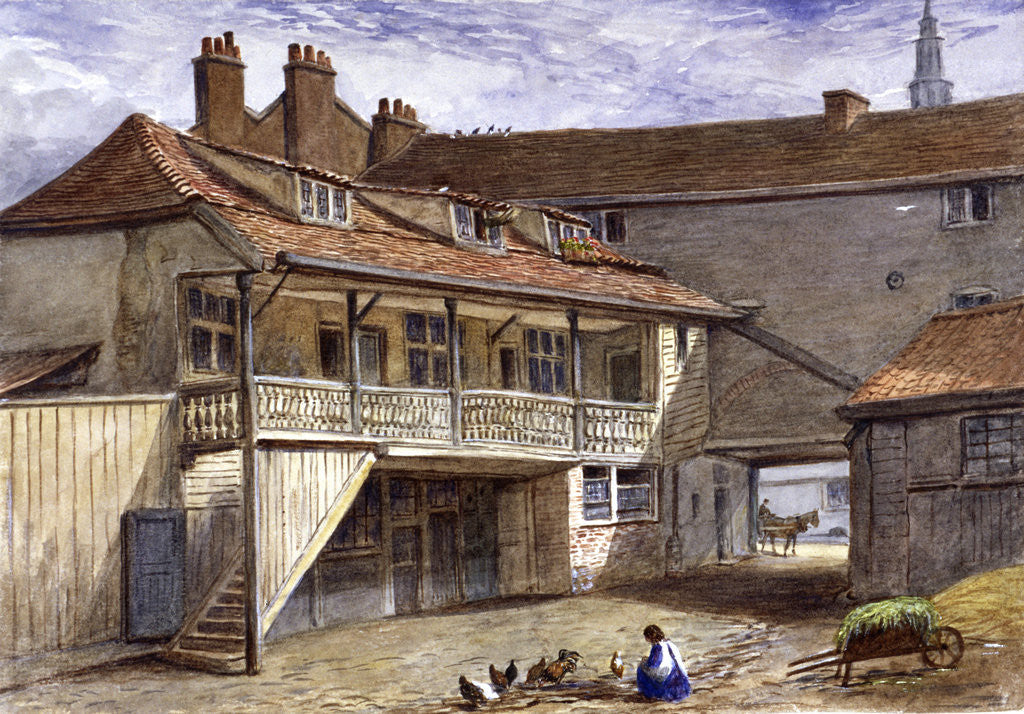 Detail of The Black Bull Inn, Whitefriars, London by JT Wilson