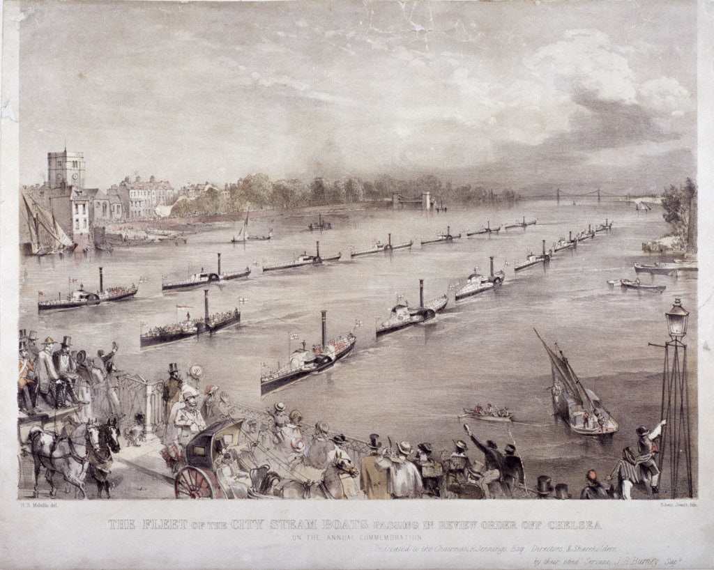 Detail of The fleet of the City steamboats passing in review order off Chelsea, London by Edwin Jewitt