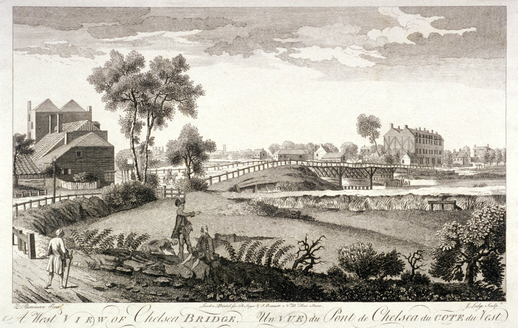 Detail of West view of Chelsea Bridge, London by William Lodge