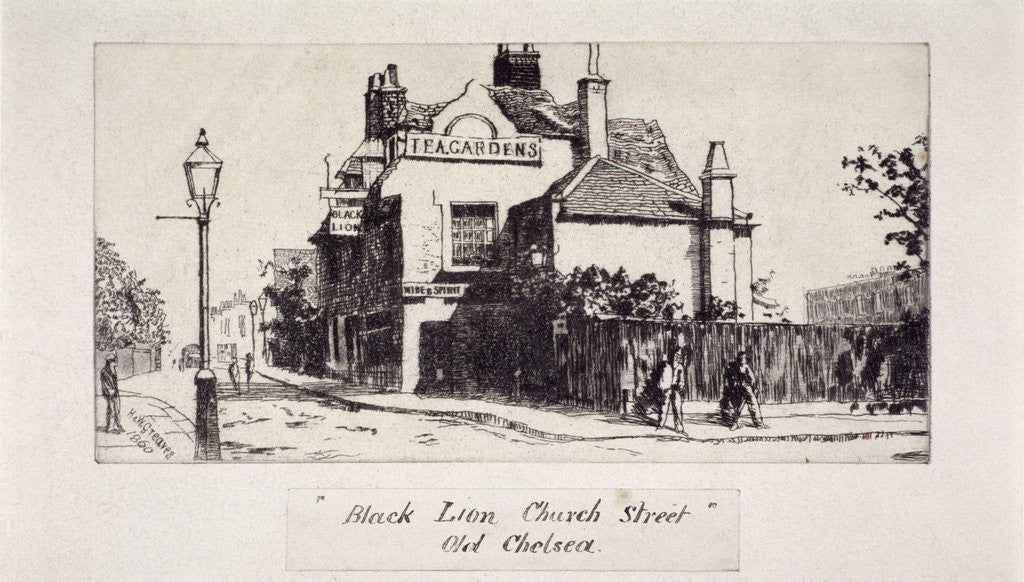 Detail of View of the Black Lion Inn, London by Walter Greaves