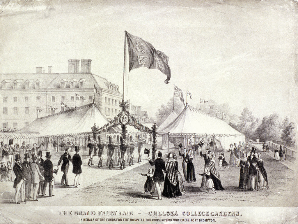 Detail of A fair held in the gardens of the Royal Hospital, Chelsea, London by