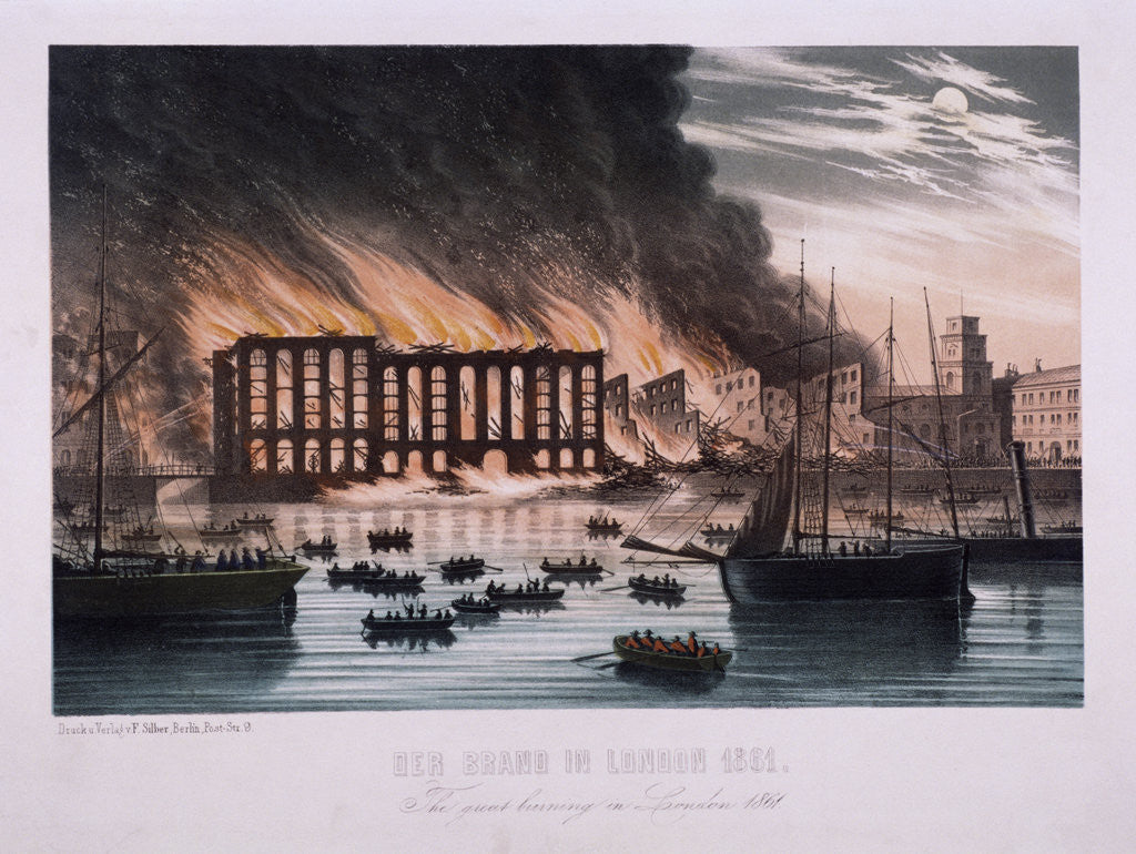 Detail of View of the Cotton's Wharf Fire, Bermondsey, London by Anonymous
