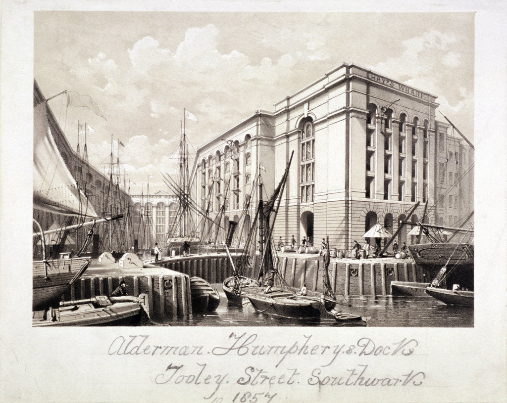 Detail of View of John Humphrey's Dock and Hay's Wharf, Tooley Street, Bermondsey, London by Anonymous