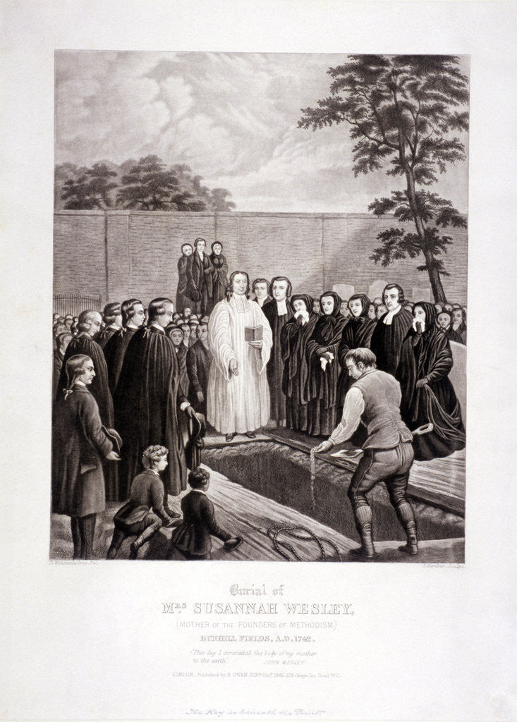 Detail of The burial of John Wesley's mother in Bunhill Fields, Finsbury, London by Stephen Gimber