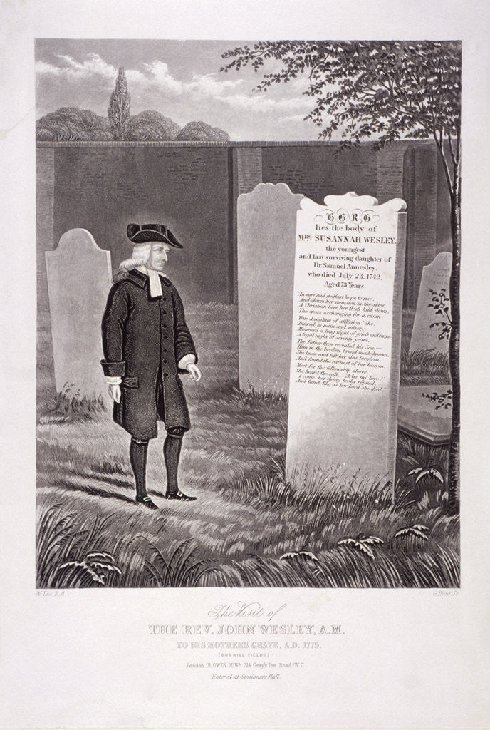 Detail of John Wesley visiting his mother's grave in 1779, Bunhill Fields, Finsbury, London by G Hunt