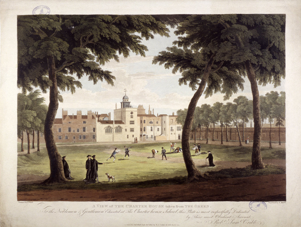 Detail of View of Charterhouse, Finsbury, London by Robert Havell