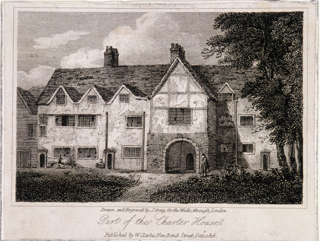 Detail of View of part of the Charterhouse, Finsbury, London by John Greig