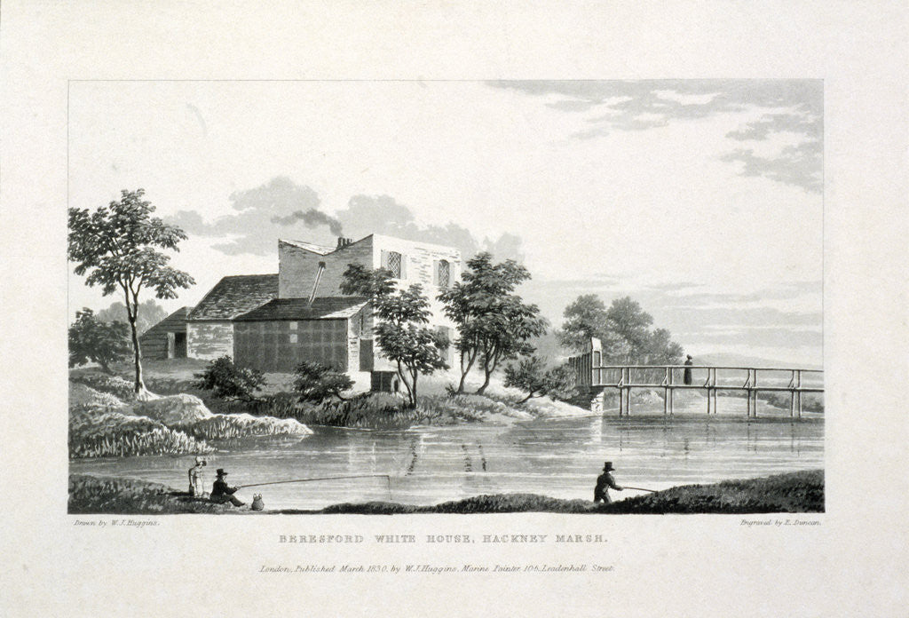 Detail of View of Beresford White House, Hackney Marsh, Hackney, London by Edward Duncan