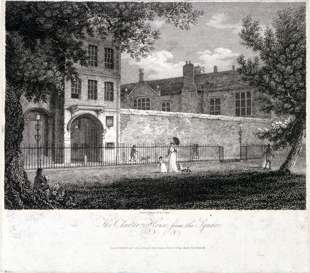 Detail of View of Charterhouse from the square with figures, Finsbury, London by