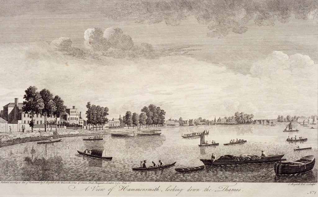 Detail of View of Hammersmith with water craft on the River Thames, Hammersmith by John Boydell