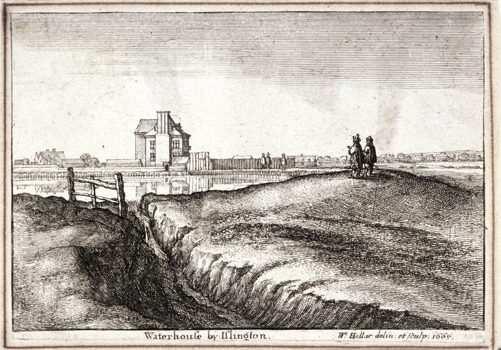 Detail of View of the area around New River Head, Finsbury, London by Wenceslaus Hollar