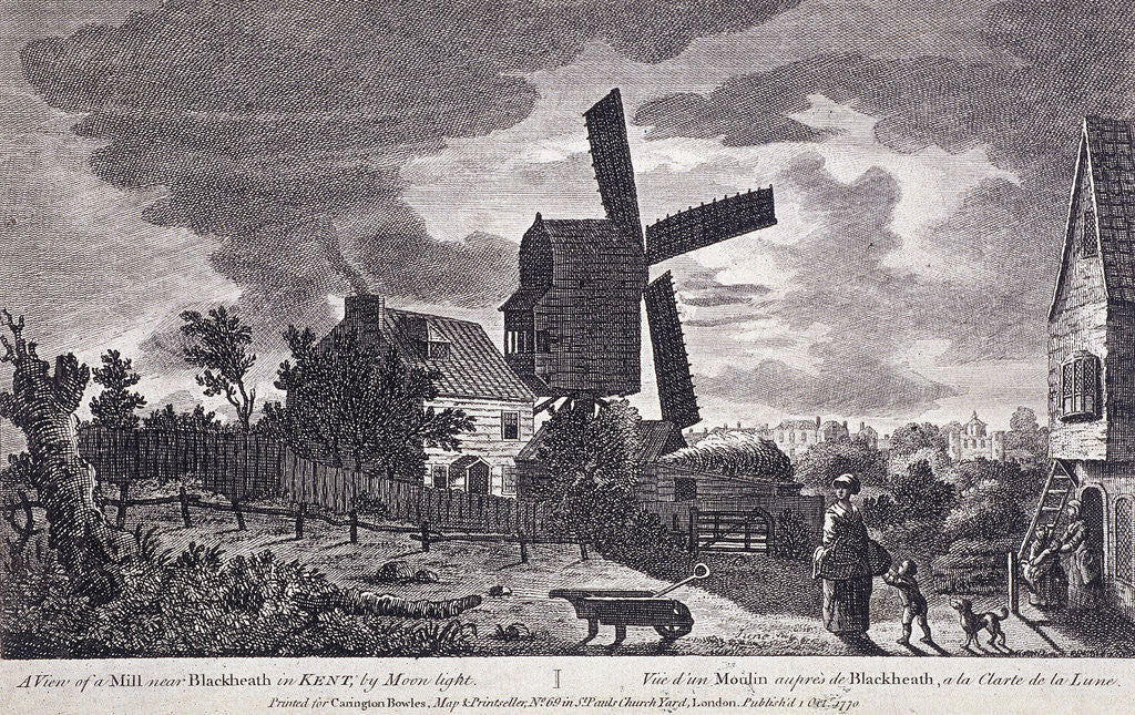 Detail of A mill on Blackheath by moonlight; including figures and a windmill, Greenwich, London by John June