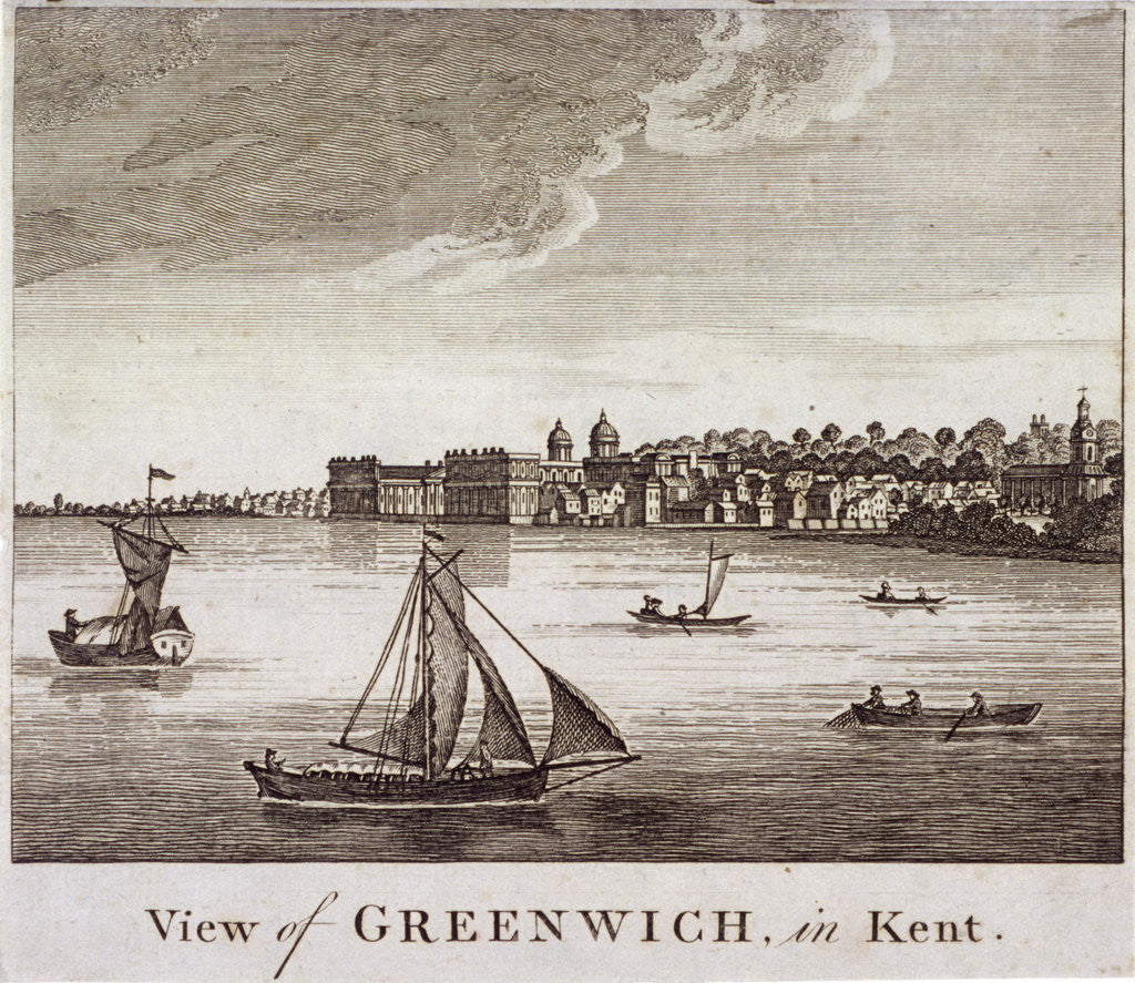 Detail of View of Greenwich with boats on the River Thames in the foreground, London by Anonymous
