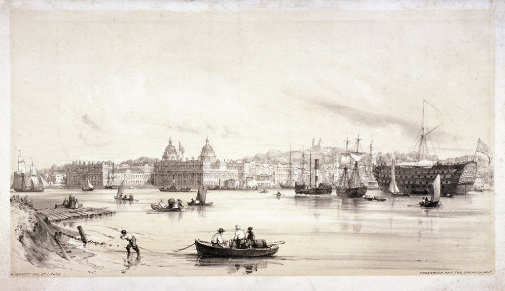 Detail of View of Greenwich across the River Thames, London by