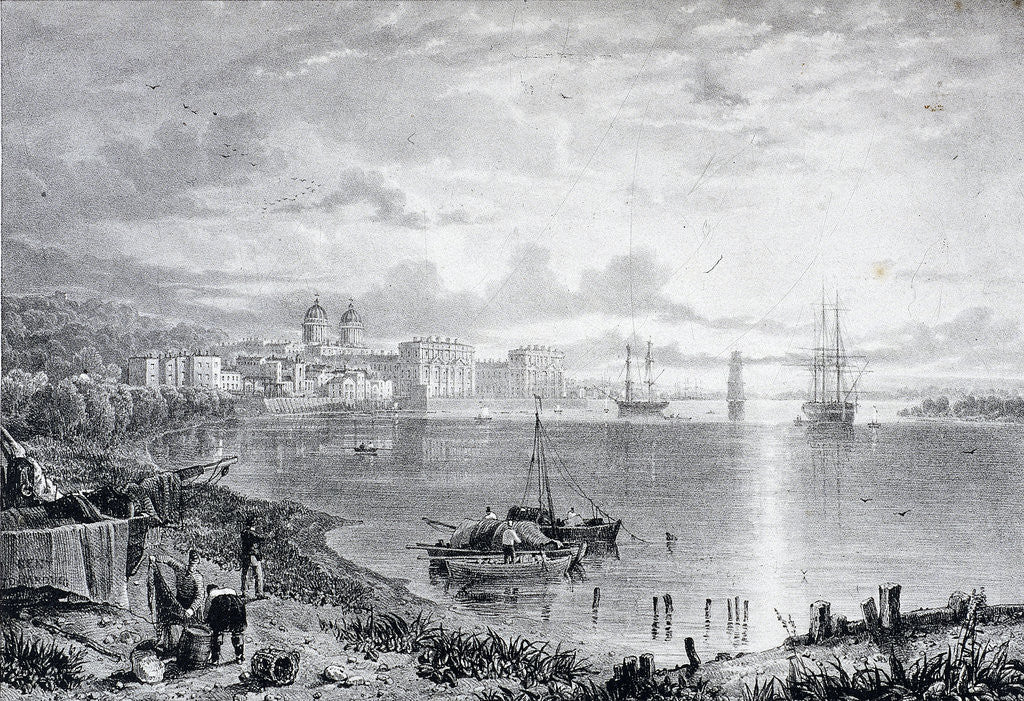 Detail of View of Greenwich Hospital, Greenwich, London by James Duffield Harding