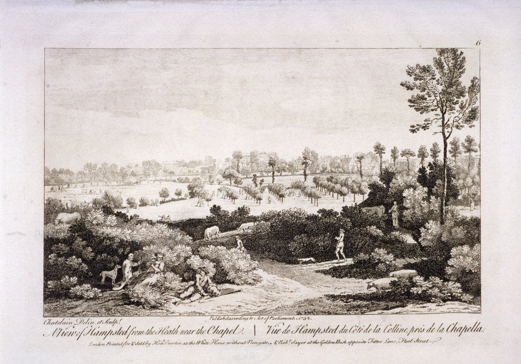 Detail of View of Hampstead Heath, Hampstead, London by Francesco Bartolozzi
