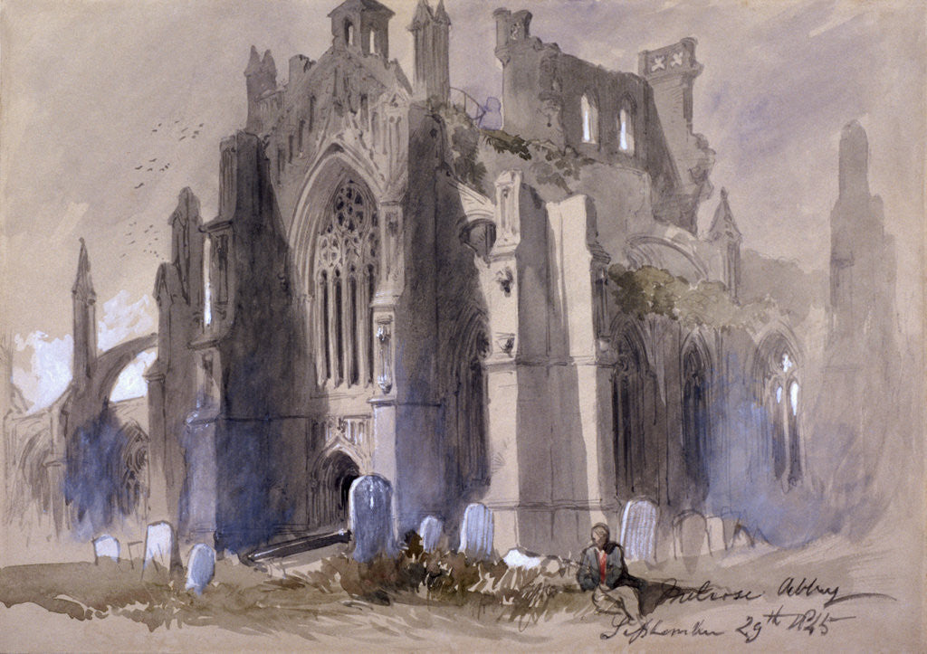 Detail of Melrose Abbey by Sir John Gilbert