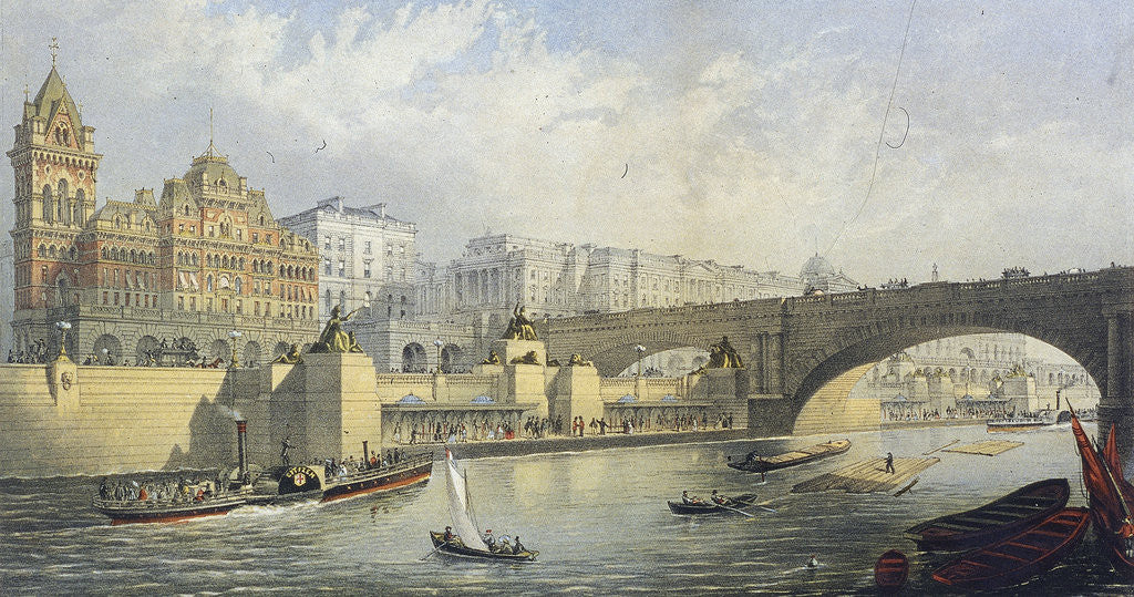 Detail of Thames Embankment - Steam Boat Landing Pier at Waterloo, London by RM Bryson