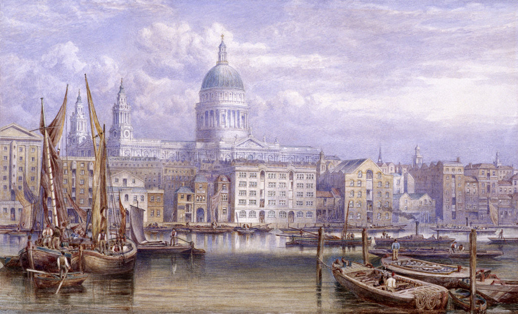 Detail of St Paul's from Bankside, London by William Richardson