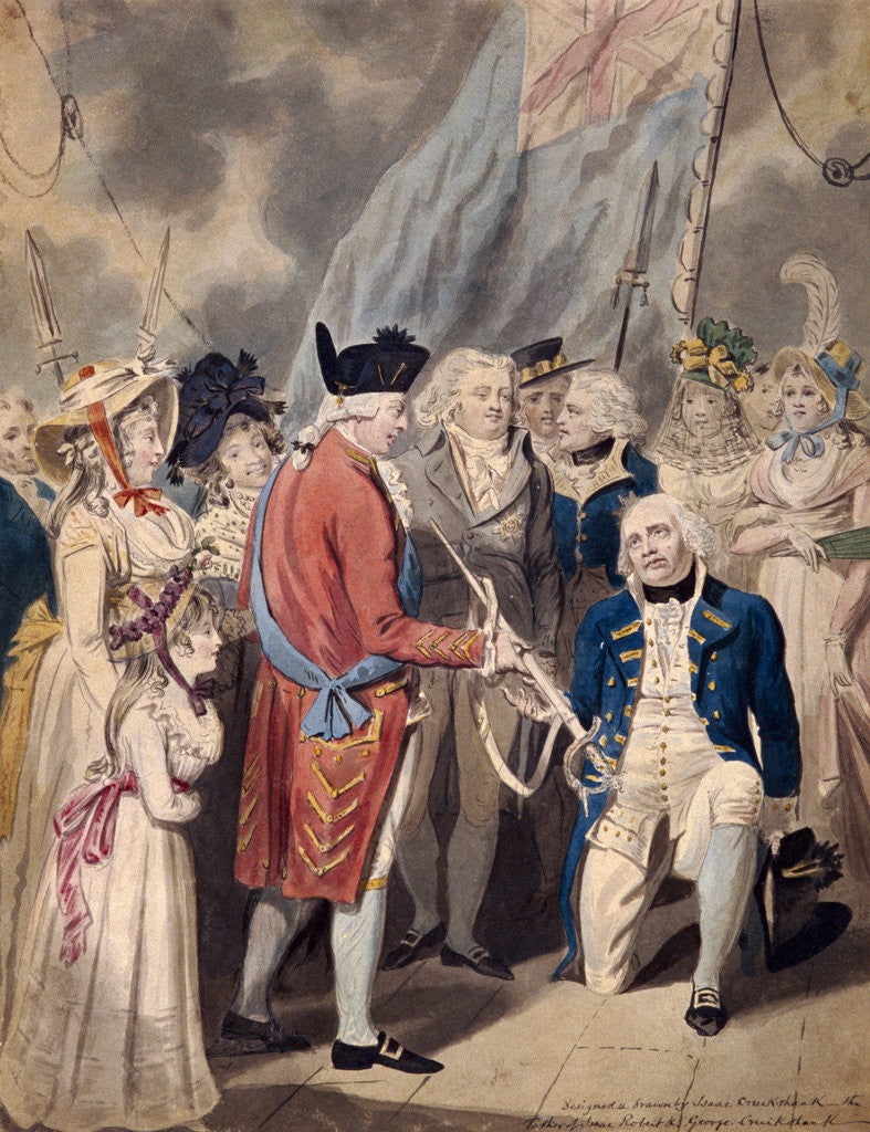 Detail of George III presenting a Sword to Admiral Earl Howe by Isaac Cruikshank