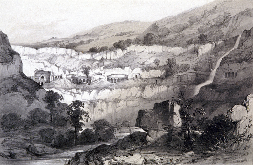 Detail of View of Caves, Ajunta, India by Thomas Colman Dibdin