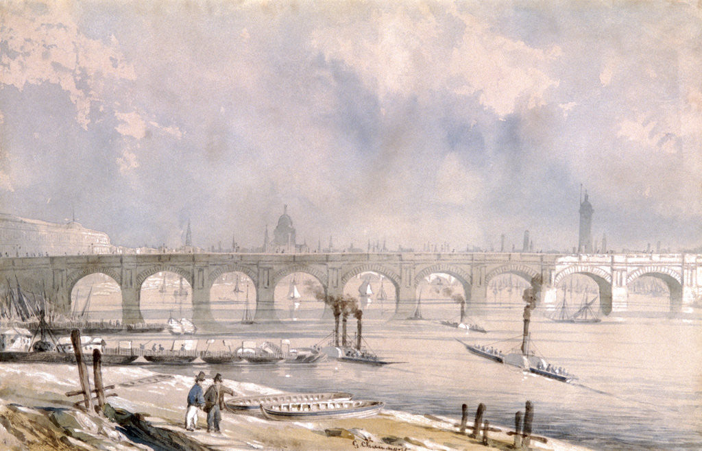 Detail of Waterloo Bridge, looking towards the City, London by G Chaumont
