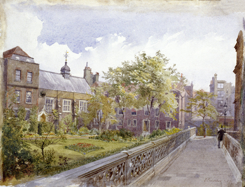 Detail of View of the Staple Inn and garden, London by John Crowther