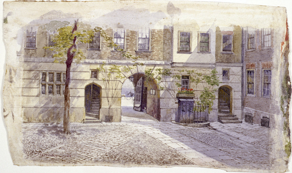 Detail of View from the entrance of Staple Inn, London by John Crowther