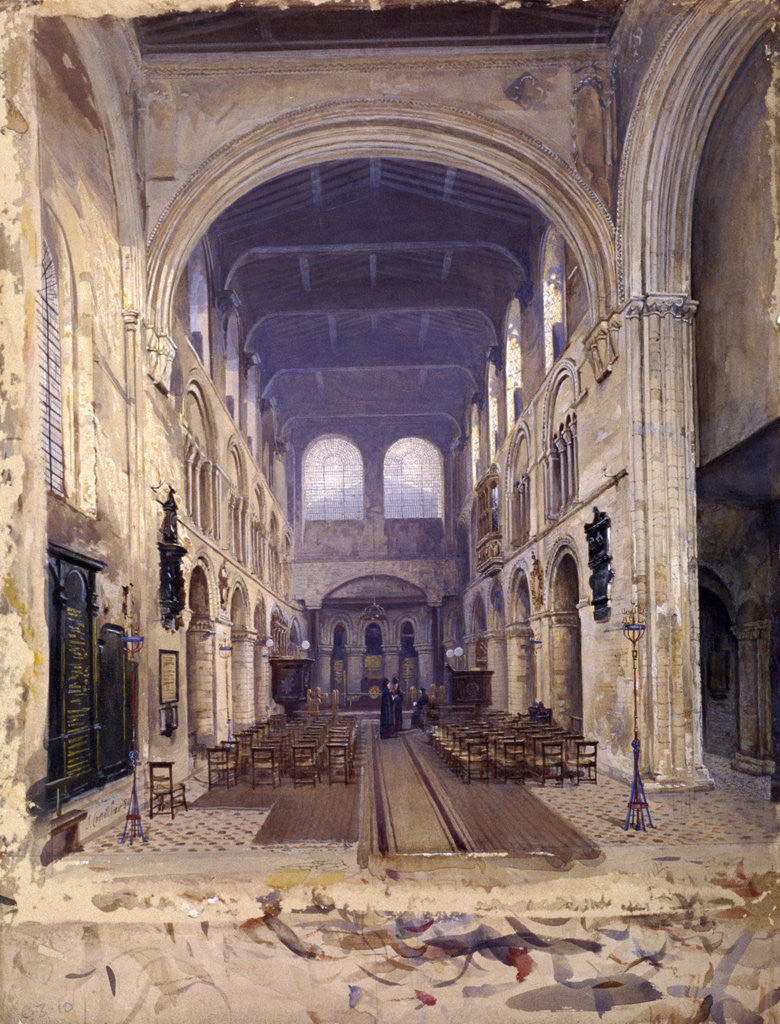 Detail of Interior of St Bartholomew's Priory, London by John Crowther