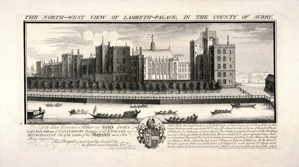 Detail of Lambeth Palace, London by Pierre-Charles Canot