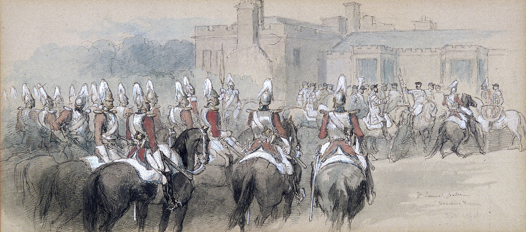 Detail of Mounted Escort at St James's Palace, London by Sir John Gilbert