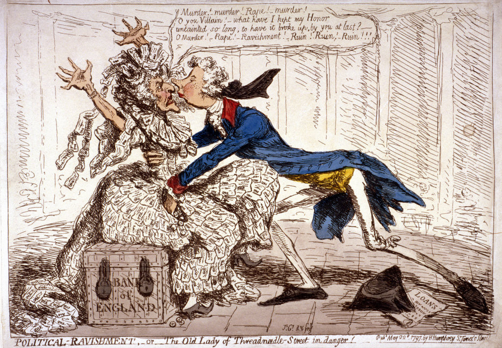 Detail of Political ravishment, or the Old Lady of Threadneedle Street in danger! by James Gillray