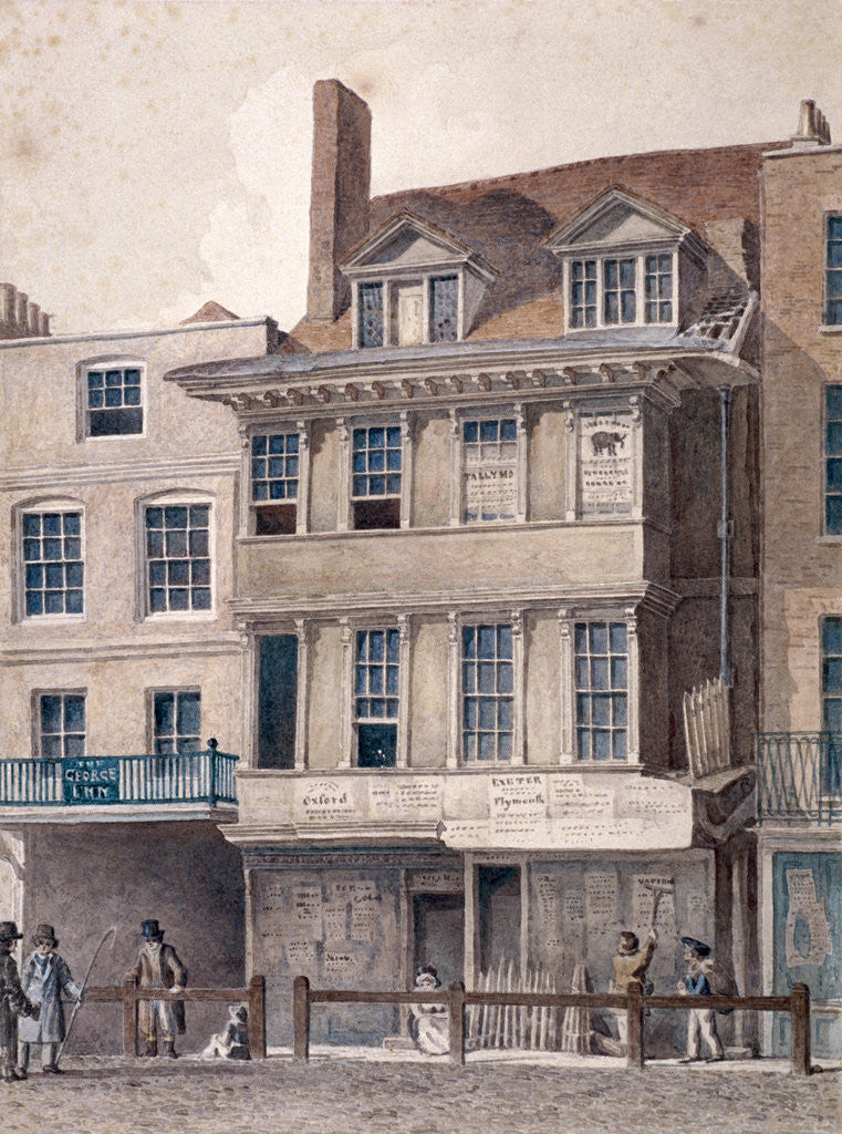 Detail of George Inn, West Smithfield, London by