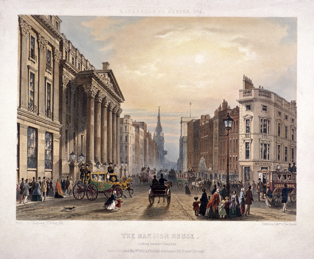 Detail of Mansion House and Cheapside, London by Thomas Picken