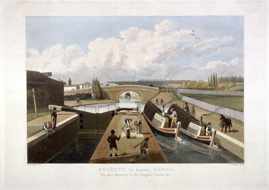 Detail of Regent's Canal, with barges, Islington, London by John Cleghorn