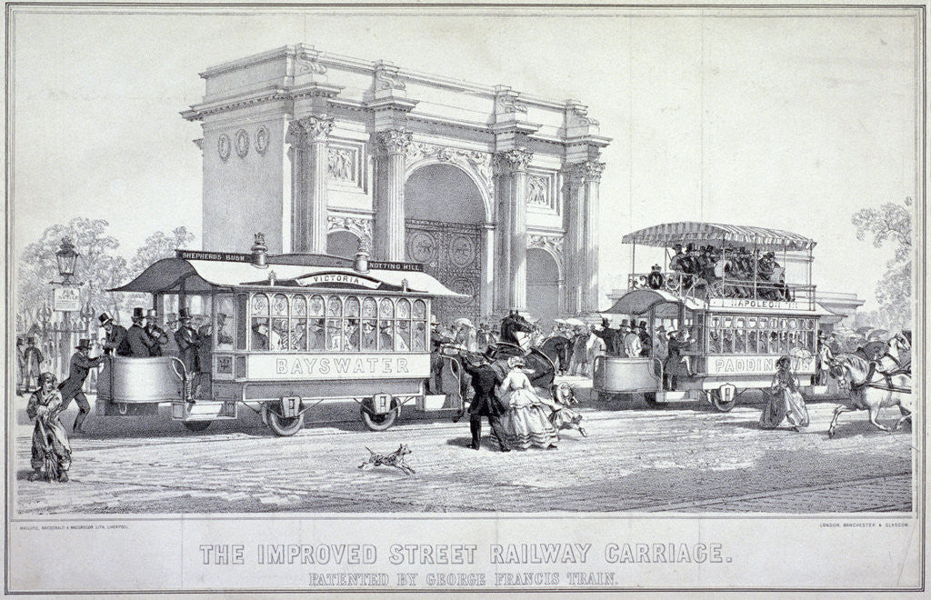 Detail of Marble Arch and street trams, London by MacDonald