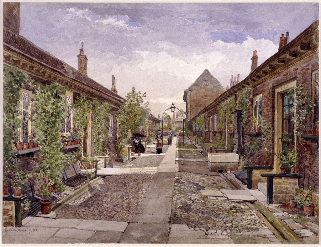 Skinners' Almshouses, Mile End Road, Stepney, London by John Crowther