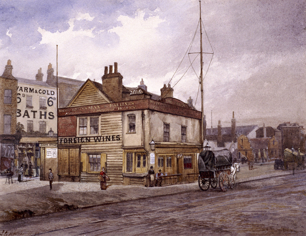 Detail of Vine Tavern, Mile End Road, Stepney, London, (c1883?) by