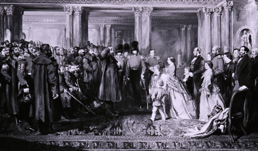Detail of Queen Victoria presenting medals to the Guards after the Crimean War by W Bunney