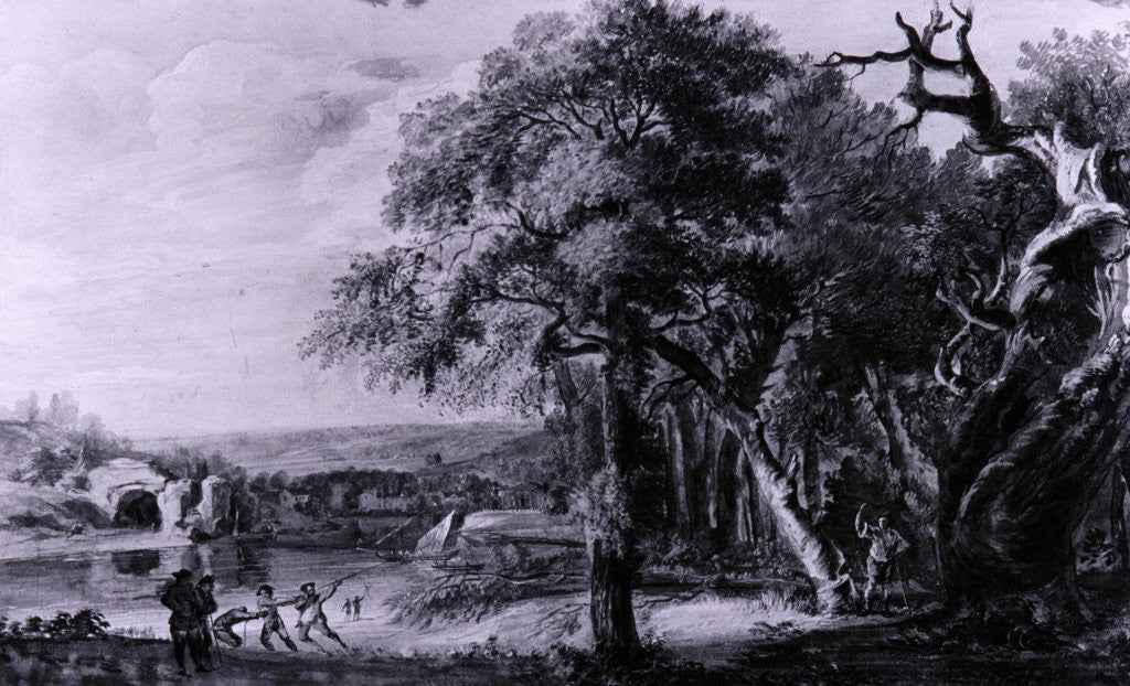 Detail of Woodcutters near a river, 1755(?) by Paul Sandby