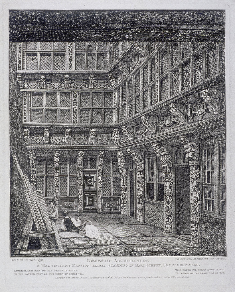 Detail of Mansion of Sir Richard (Dick) Whittington in Hart Street, Crutched Friars, London by John Thomas Smith