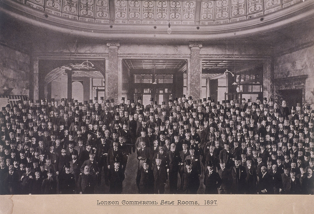 Detail of Group portrait of men in the London Commercial Sale Rooms, Mincing Lane, London by Anonymous