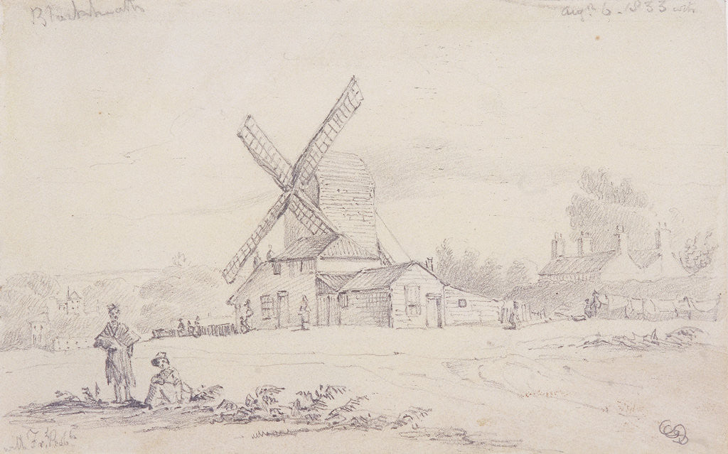Detail of View of mill with a windmill on Blackheath, Greenwich, London by George Shepheard
