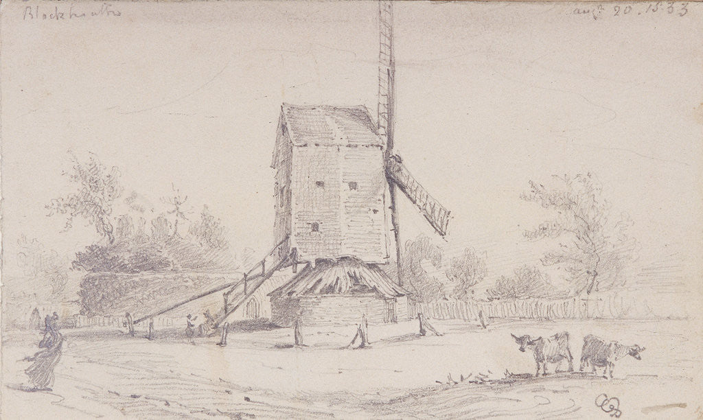 Detail of View of windmill on Blackheath, Greenwich, London by George Shepheard
