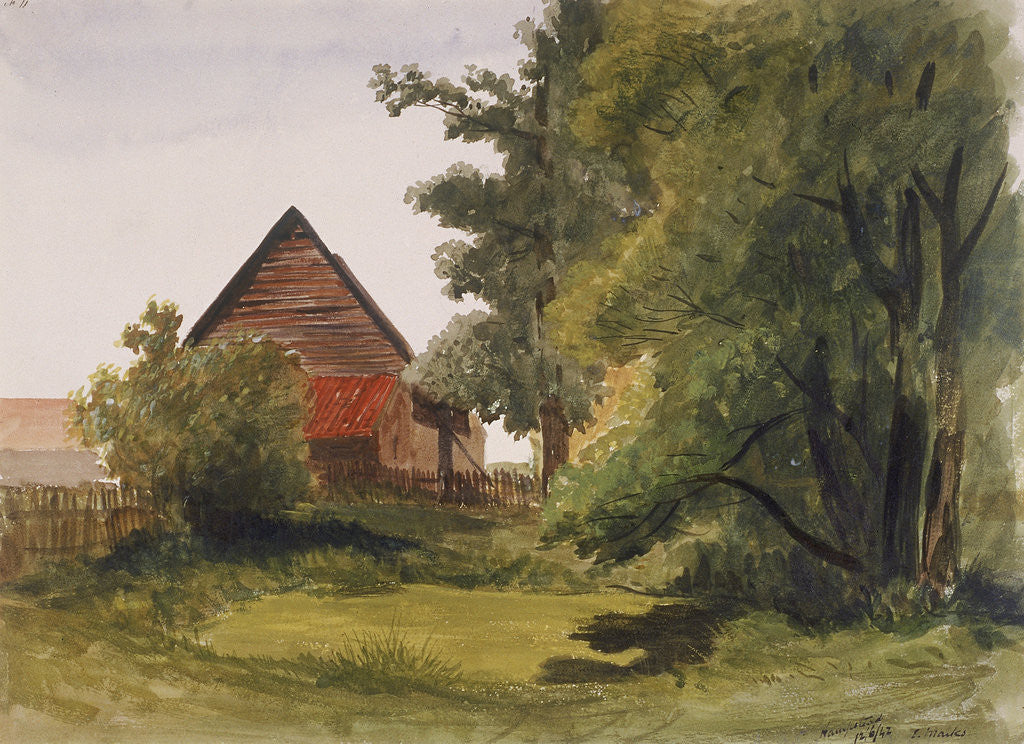 Detail of View of Hampstead with a barn on the left, Hampstead, Camden, London by Edmund Marks