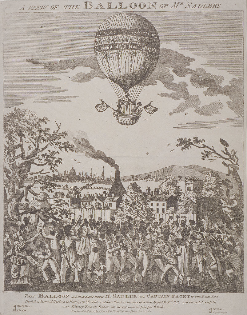 Detail of View of James Sadler's balloon over Mermaid Gardens, Hackney, London by Anonymous