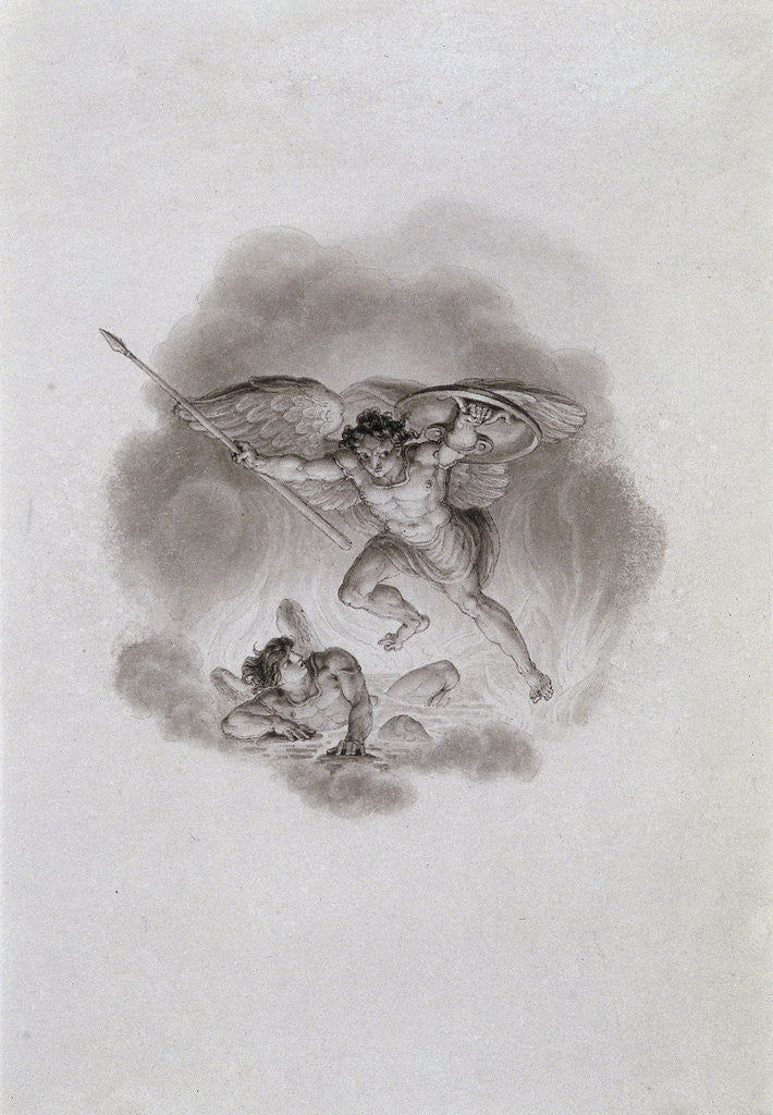 Detail of Satan and Beelzebub in Hell by Edward Francis Burney