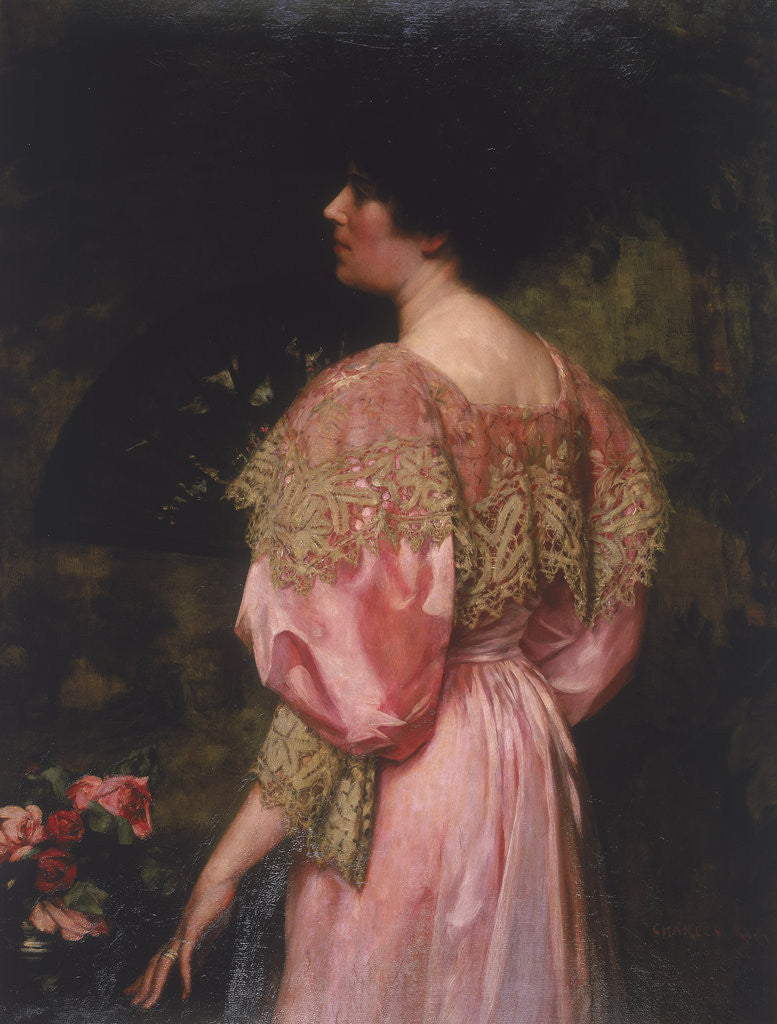 Detail of The Rose-Coloured Gown (Miss Giles) by Charles HM Kerr